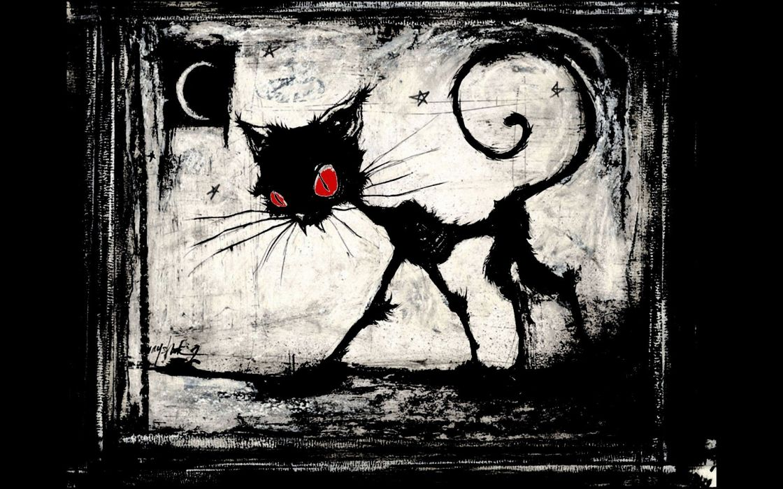 black and white witch eyes dark red night World of Warcraft cats reaper funny wallpaper