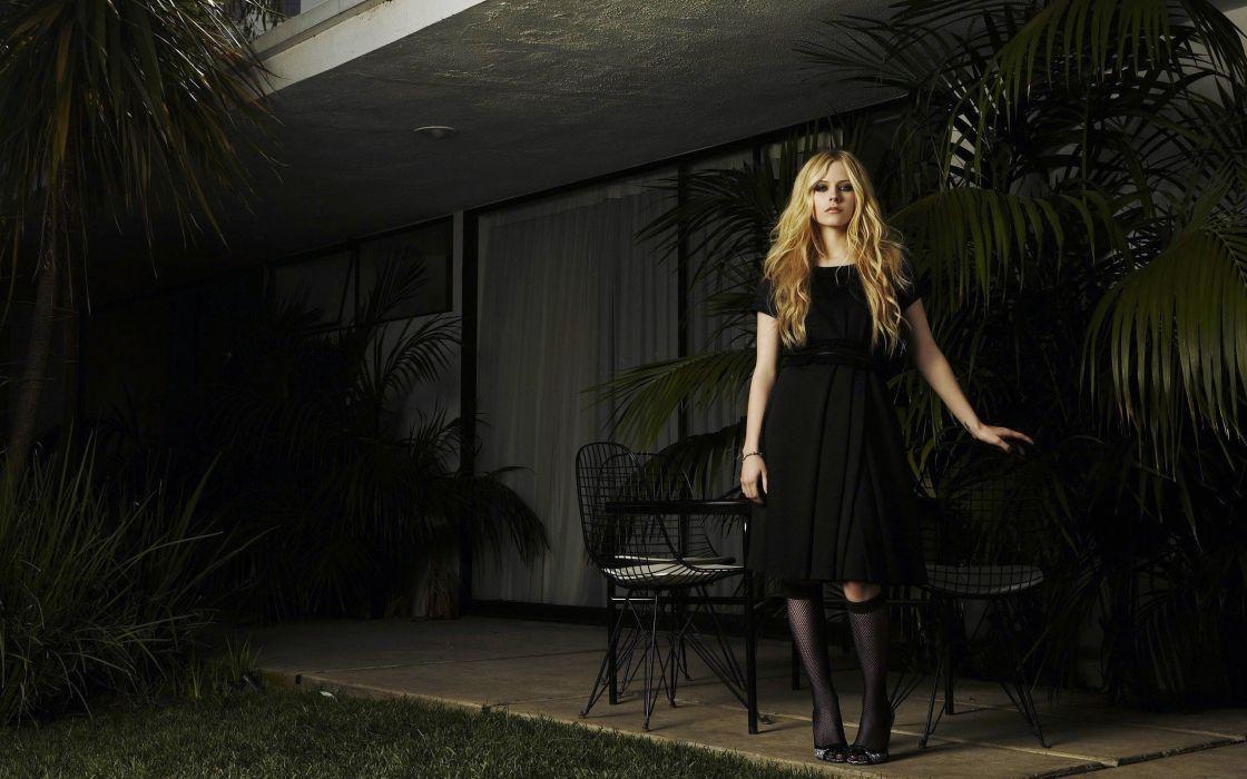 women Avril Lavigne trees socks celebrity high heels chairs fishnet lingerie wallpaper