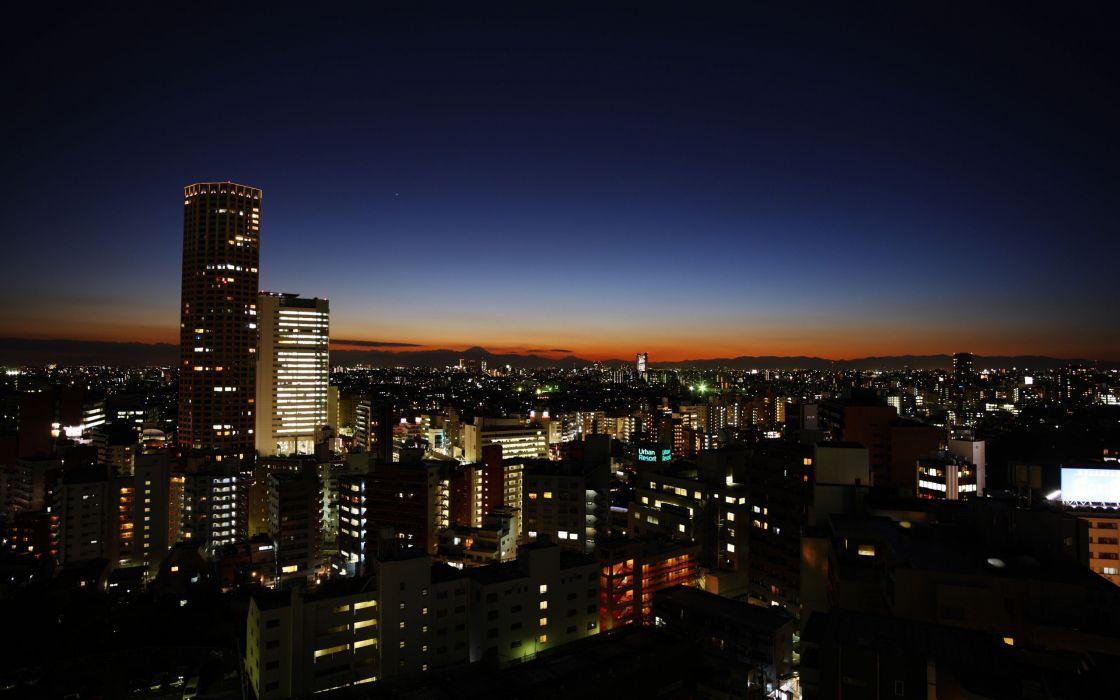 horizon cityscapes night nightlights cities wallpaper