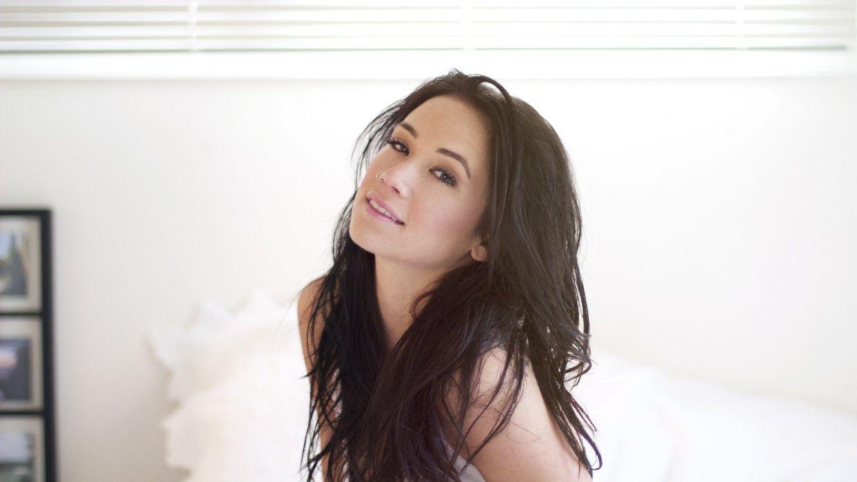 brunettes women white background black hair Megan Lyn wallpaper