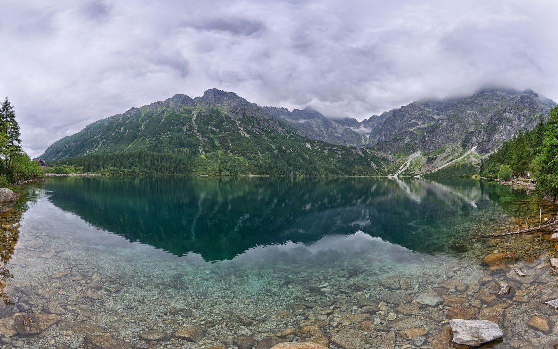 mountains landscapes nature forests hills Poland overcast lakes reflections wallpaper