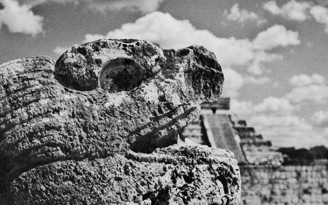 grayscale monochrome Mayan wallpaper