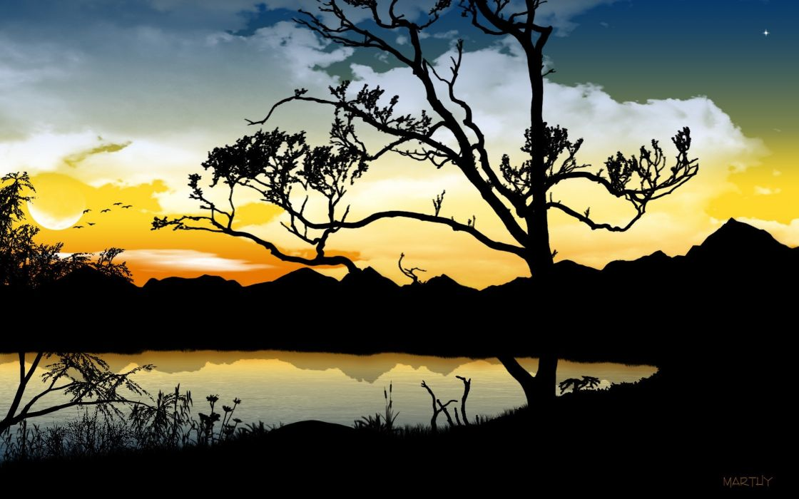 trees silhouettes lakes wallpaper
