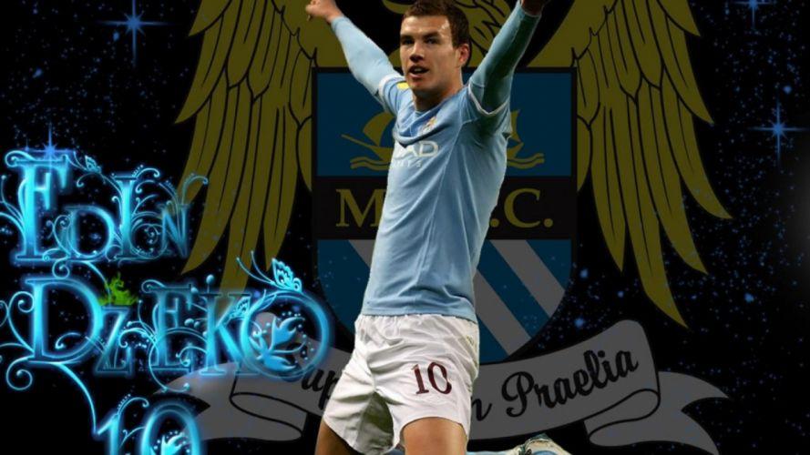sports soccer Manchester City premier league Edin Dzeko football players wallpaper