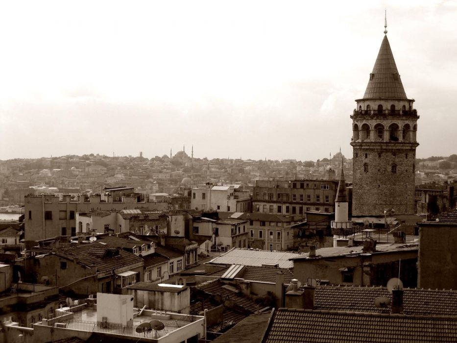 sepia monochrome Istanbul Galata Tower wallpaper