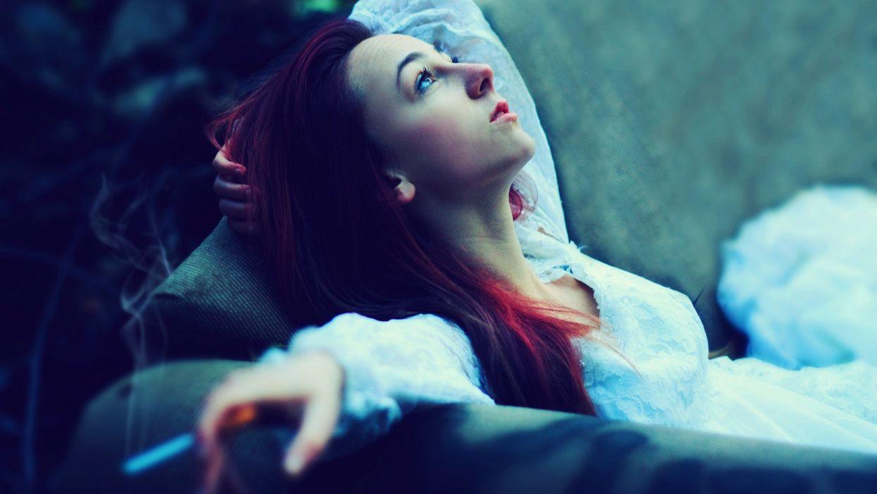 women redheads cigarettes wallpaper
