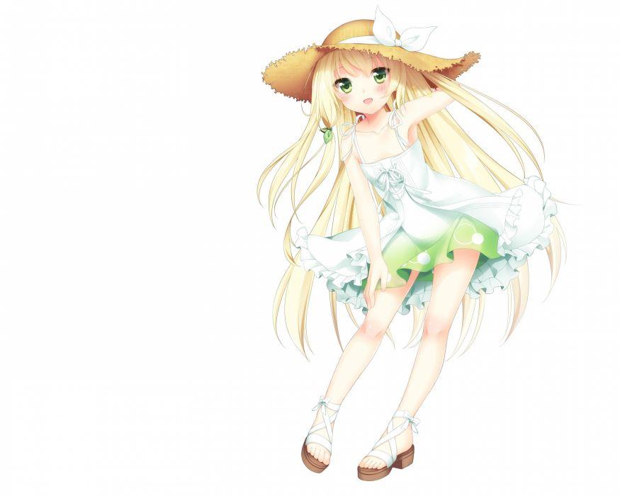 green eyes blush anime girls white background summer dress original characters wallpaper