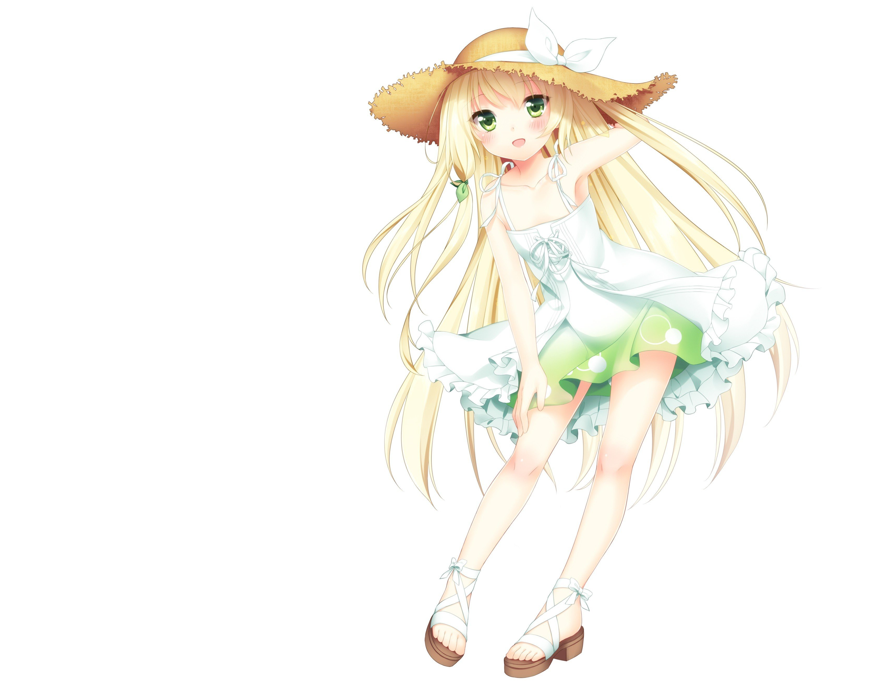 Green eyes blush anime girls white background summer dress original characters wallpaper 3350x2680 253626 wallpaperup