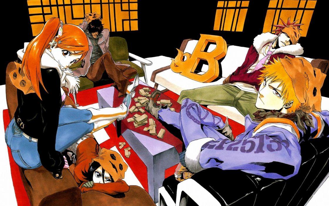 couch Bleach Kurosaki Ichigo Inoue Orihime Kuchiki Rukia Abarai Renji anime boys manga Yasutora Sado anime girls wallpaper