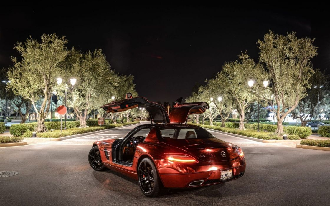 red night cars Mercedes-Benz SLS AMG Mercedes Benz mercedes benz sls Mercedes Benz Sls Amg rear angle view wallpaper