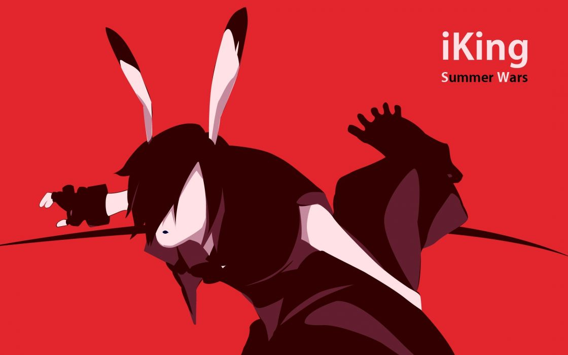 red gloves iPod silhouettes king parody Summer Wars monochrome anime bunny ears anime girls wallpaper