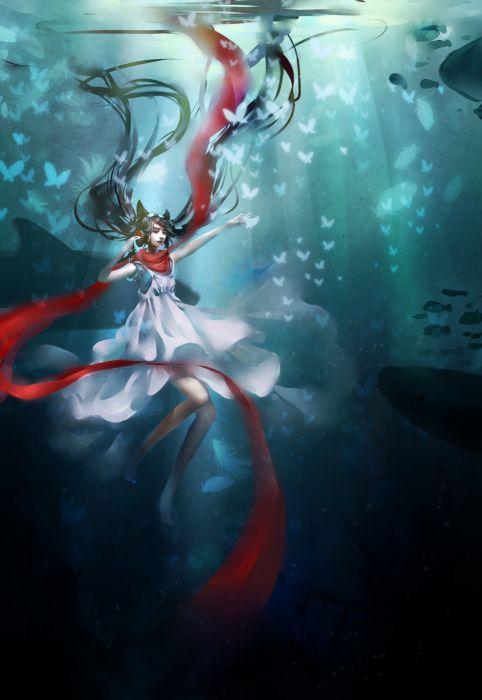 headphones dress blue eyes animal ears scarfs underwater black hair butterflies original characters wallpaper