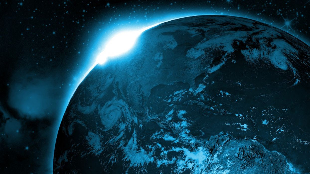 outer space stars Earth artwork wallpaper