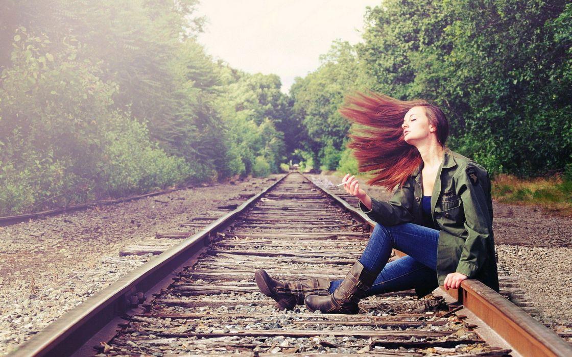 women smoking redheads railroad tracks leather boots wallpaper