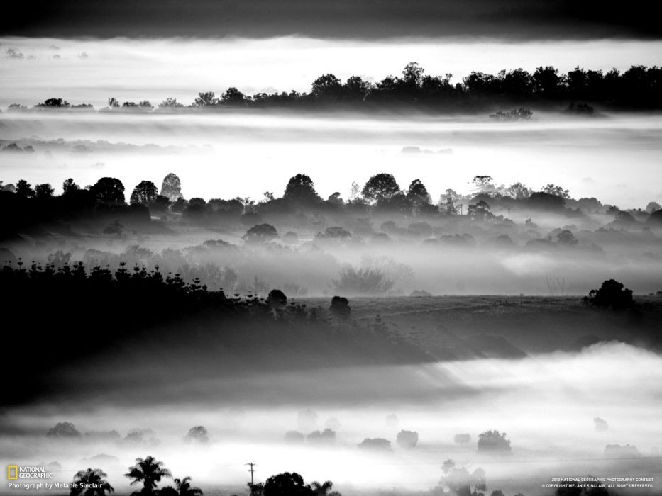 landscapes fog National Geographic grayscale Australia Queensland wallpaper