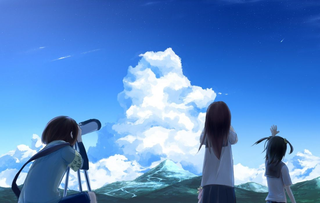 brunettes mountains clouds landscapes back school uniforms schoolgirls skirts long hair short hair twintails scenic skyscapes anime girls armbands hair ornaments black hair skies three girls original characters wallpaper