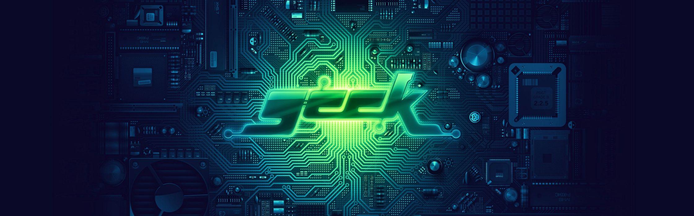 green blue geek PCB motherboards circuits Derek Prospero wallpaper