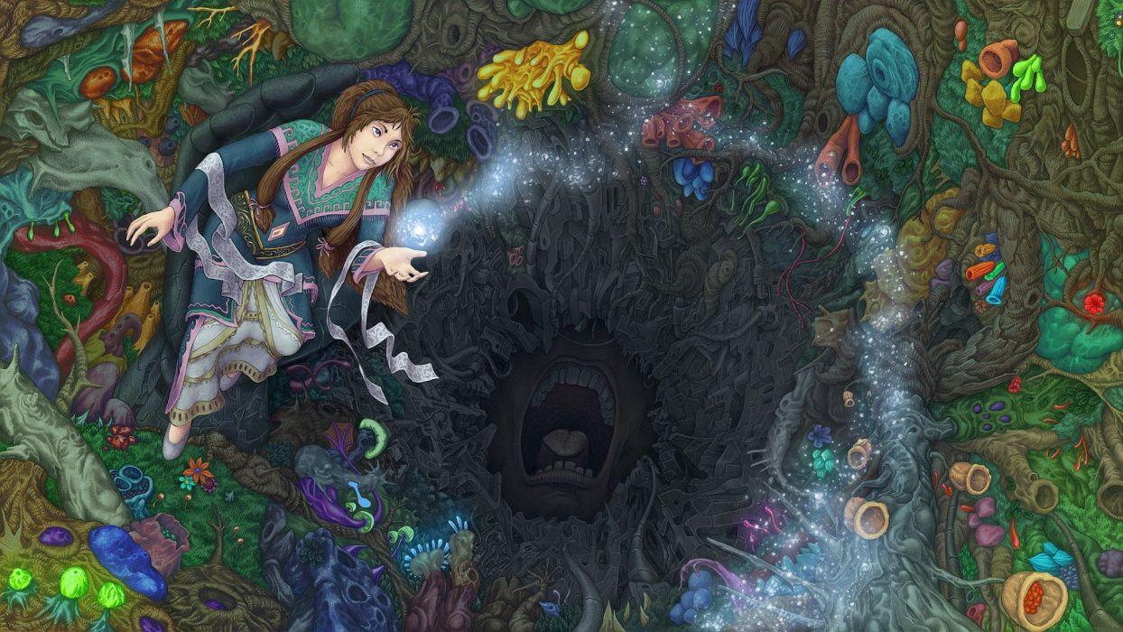 women multicolor design fantasy art digital art oriental drawings colors wallpaper