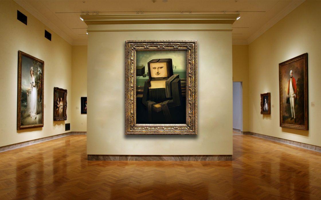 Mona Lisa Minecraft photo manipulation wallpaper