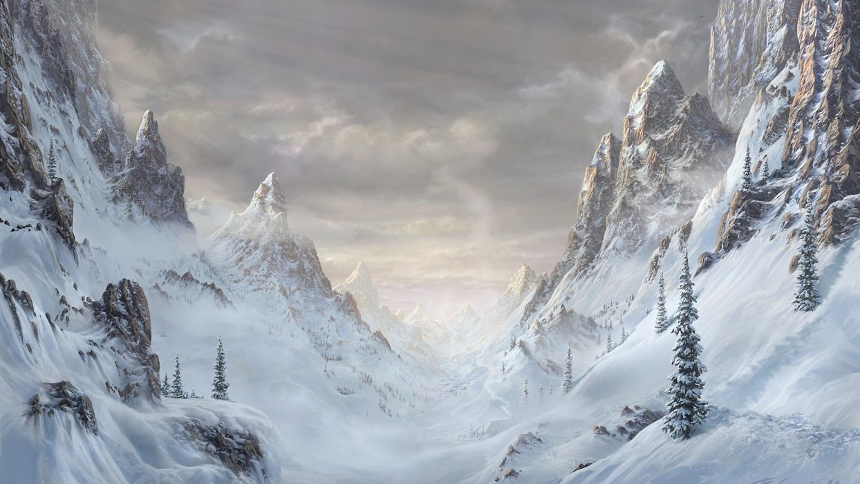 mountains artwork wallpaper