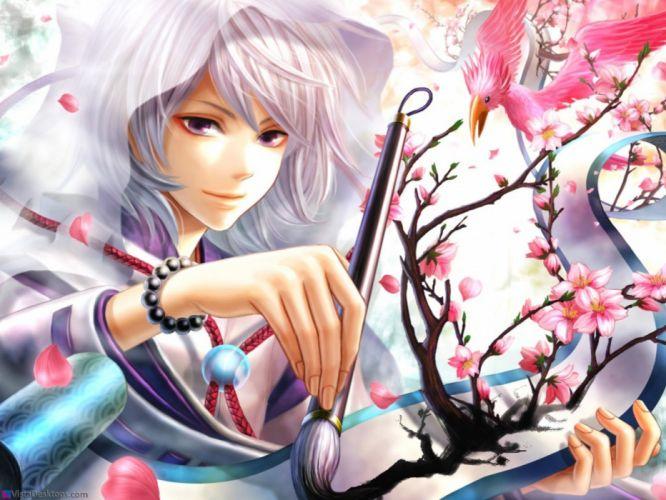 blossoms fantasy art purple hair wallpaper