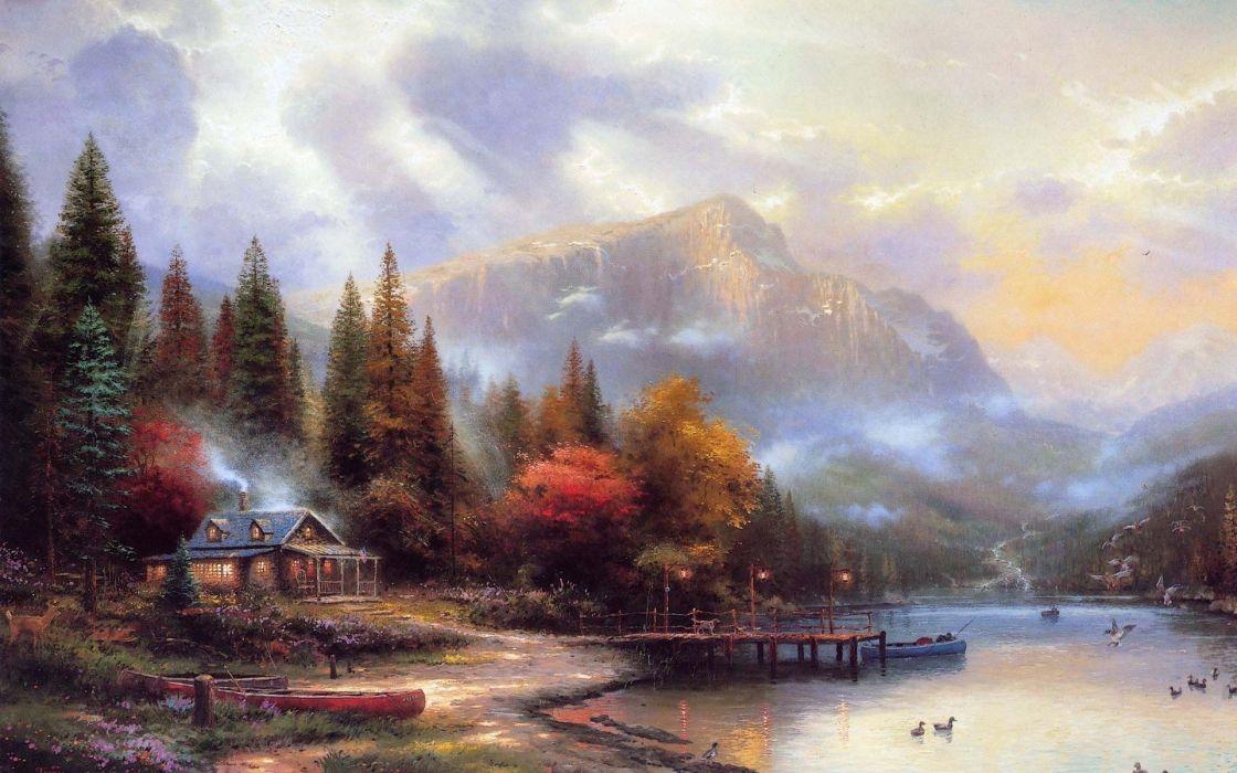 paintings landscapes houses artwork wallpaper