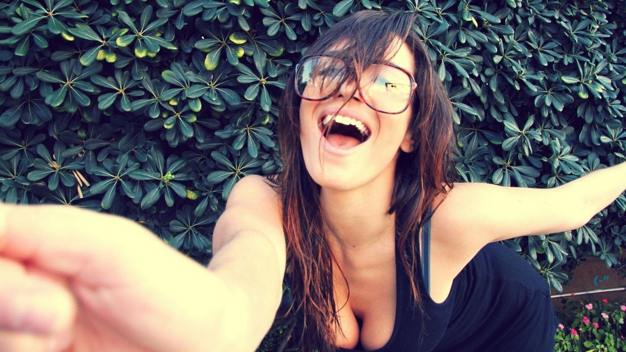 brunettes women cleavage glasses open mouth hedges Shay Maria girls with glasses wallpaper