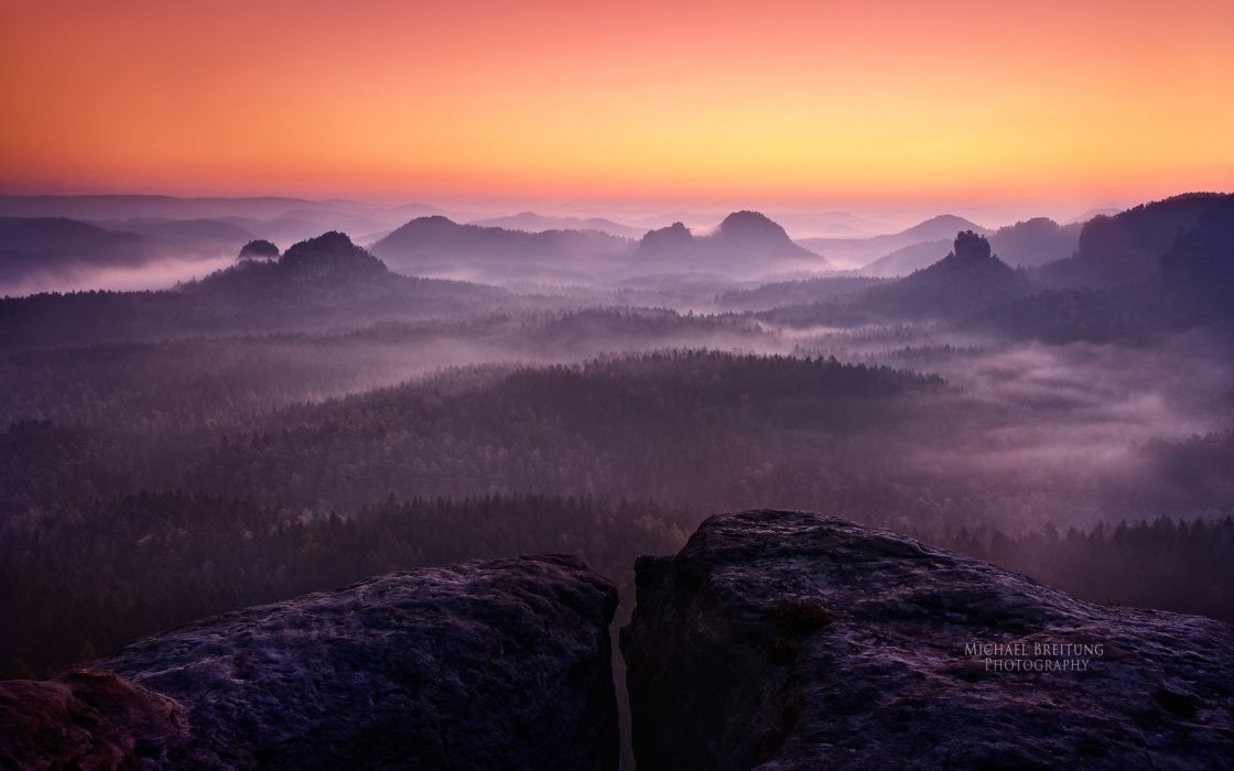 sunset mountains landscapes forests Germany mist HDR photography Saxon Switzerland wallpaper