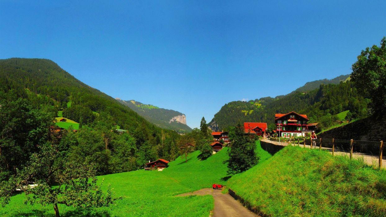 mountains landscapes nature trees houses Switzerland Bern countryside Lauterbrunnen wallpaper