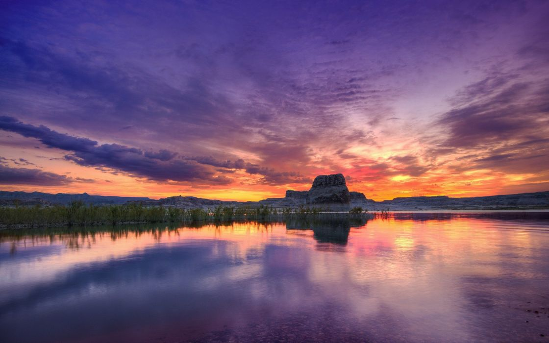 water sunset clouds landscapes nature hills rocks mesas wallpaper
