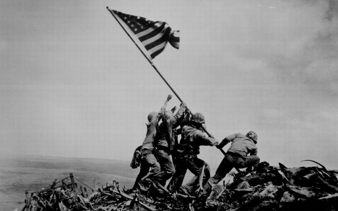 flags World War II historic Iwo Jima wallpaper