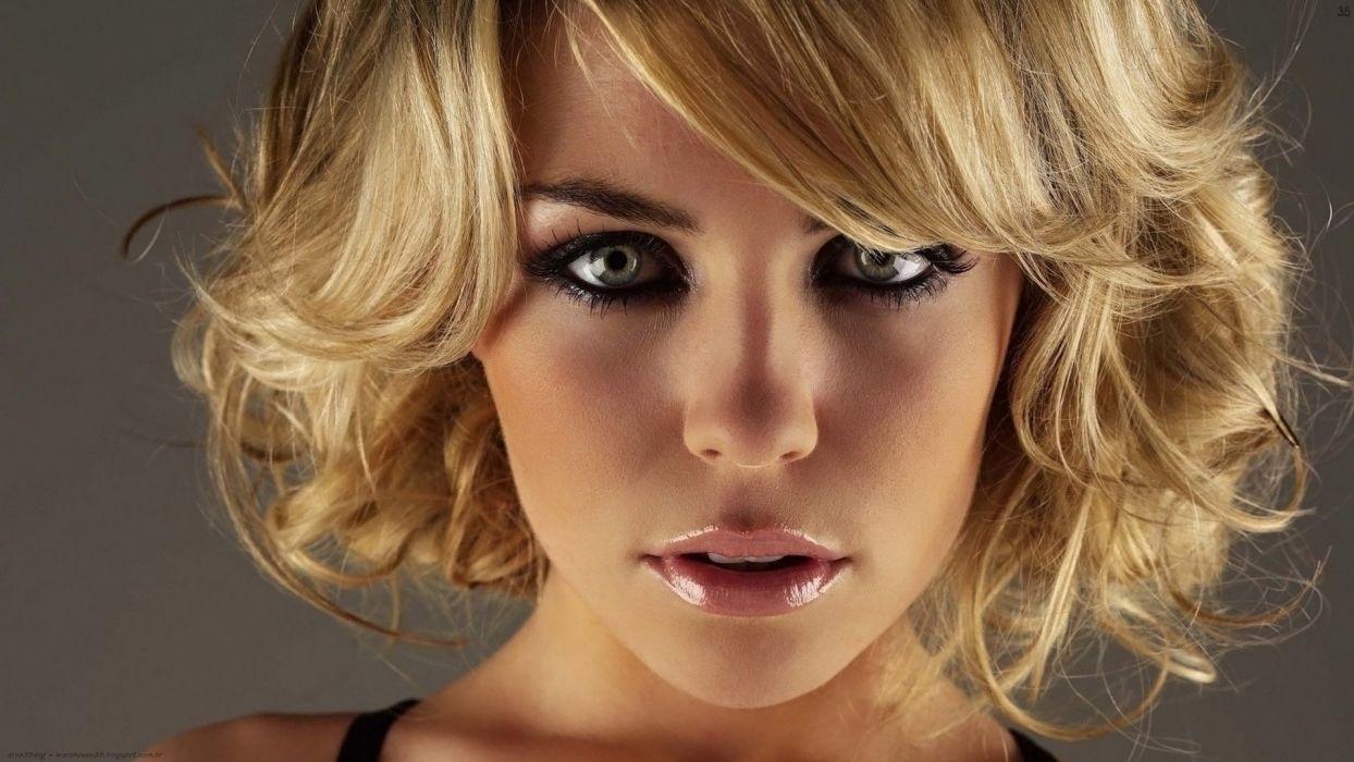 blondes women close-up models green eyes Abigail Clancy faces Close Quarters wallpaper