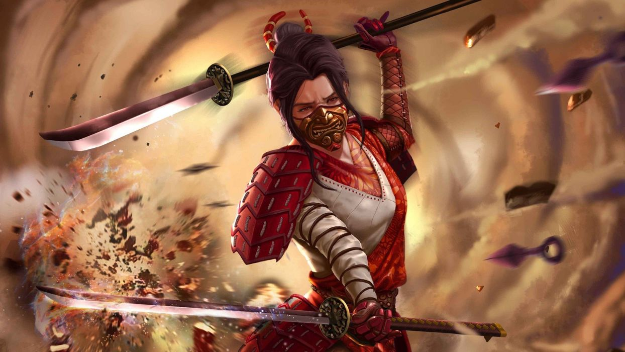 Brunettes Warriors Kitana Female Samurai Wallpaper