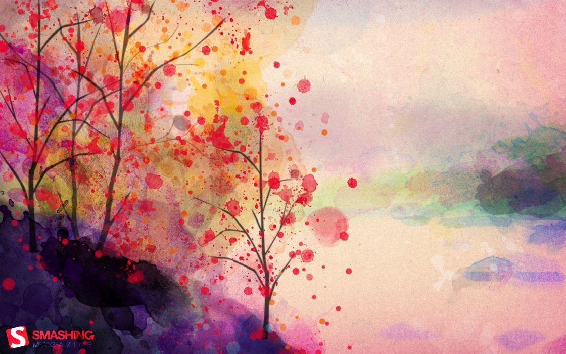 paintings landscapes trees artwork watercolor Smashing magazine paint splatter wallpaper