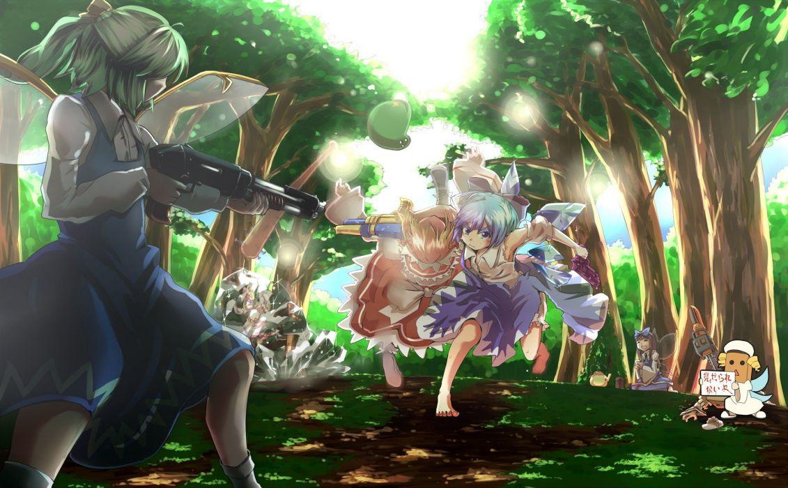 video games Touhou guns Cirno weapons fairies Lily White Daiyousei Star Sapphire Sunny Milk Luna Child wallpaper
