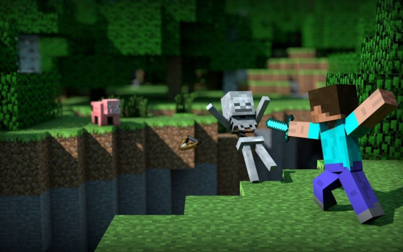 video games skeletons Minecraft pigs Mexican wallpaper