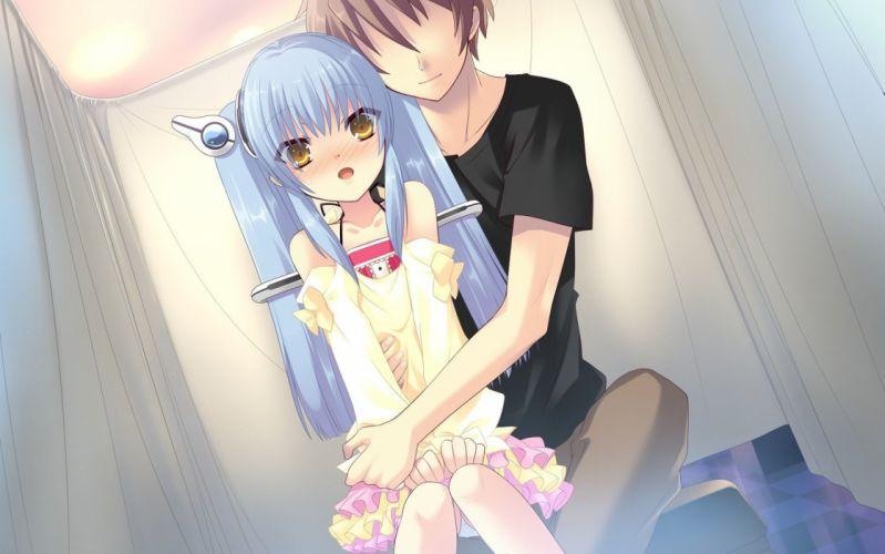 blue hair yellow eyes lolicon Flyable Heart blush Noiji Itou Hugs wallpaper