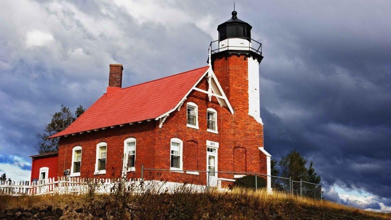 eagles lighthouses Michigan Harbor wallpaper