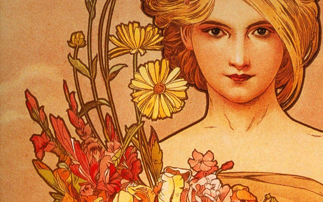 Alphonse Mucha artwork wallpaper