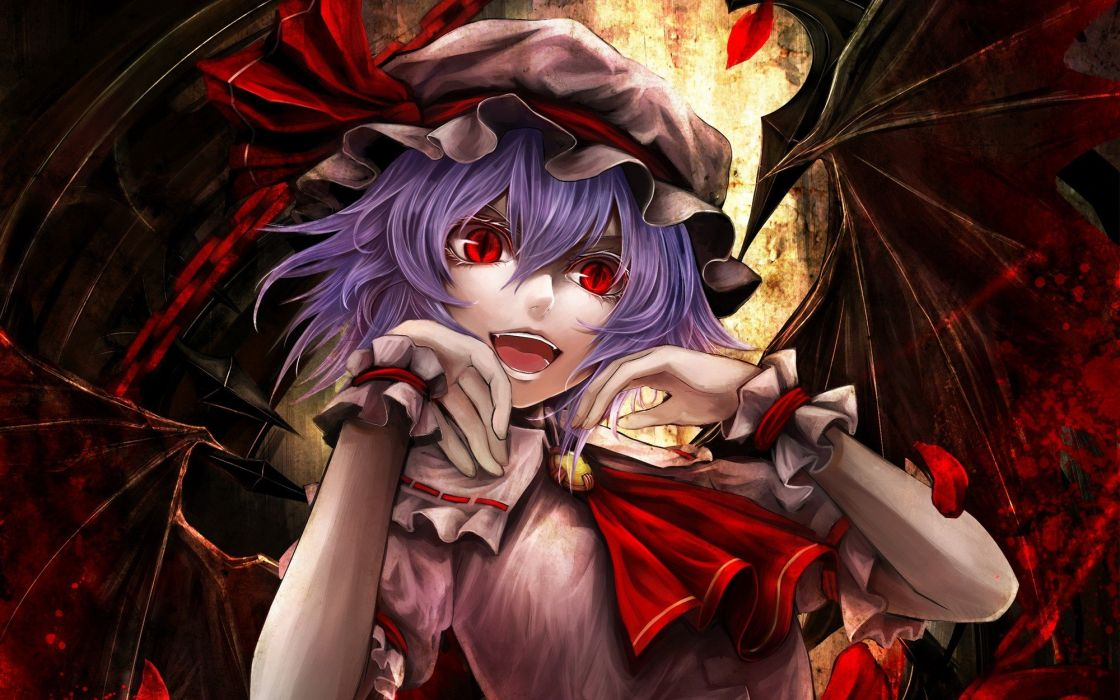video games Touhou wings vampires purple hair red eyes short hair open mouth chains flower petals cuffs hats pink dress Remilia Scarlet slit pupils wallpaper