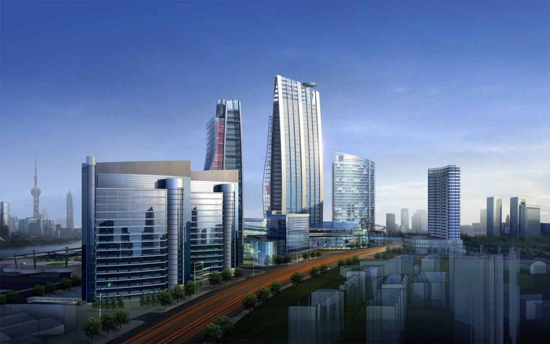 water architecture buildings skyscrapers 3D renders skyscapes commercial cities wallpaper