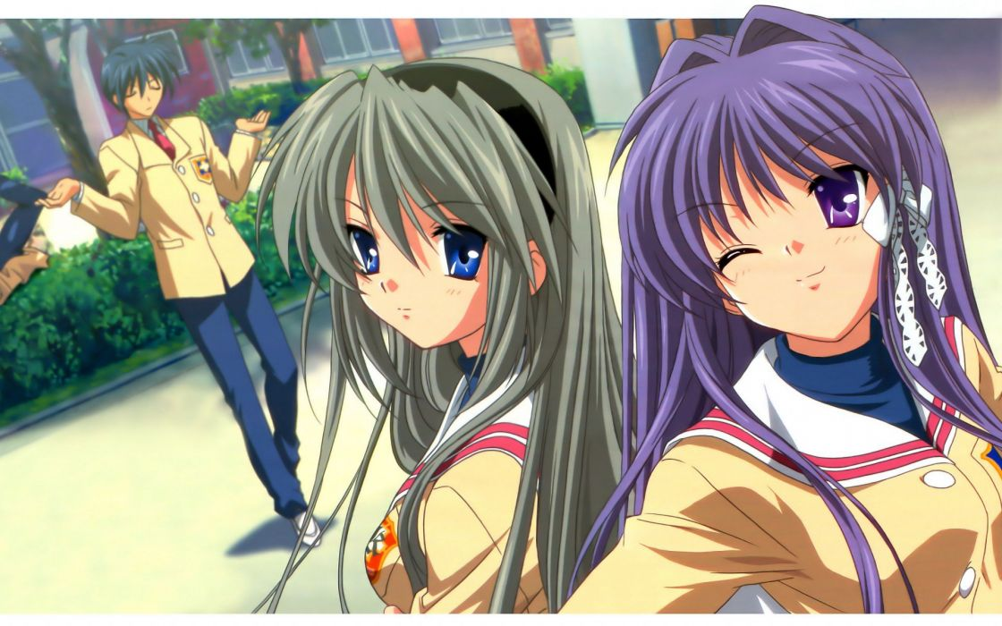 school uniforms Clannad Sakagami Tomoyo Fujibayashi Kyou Okazaki Tomoya anime girls wallpaper