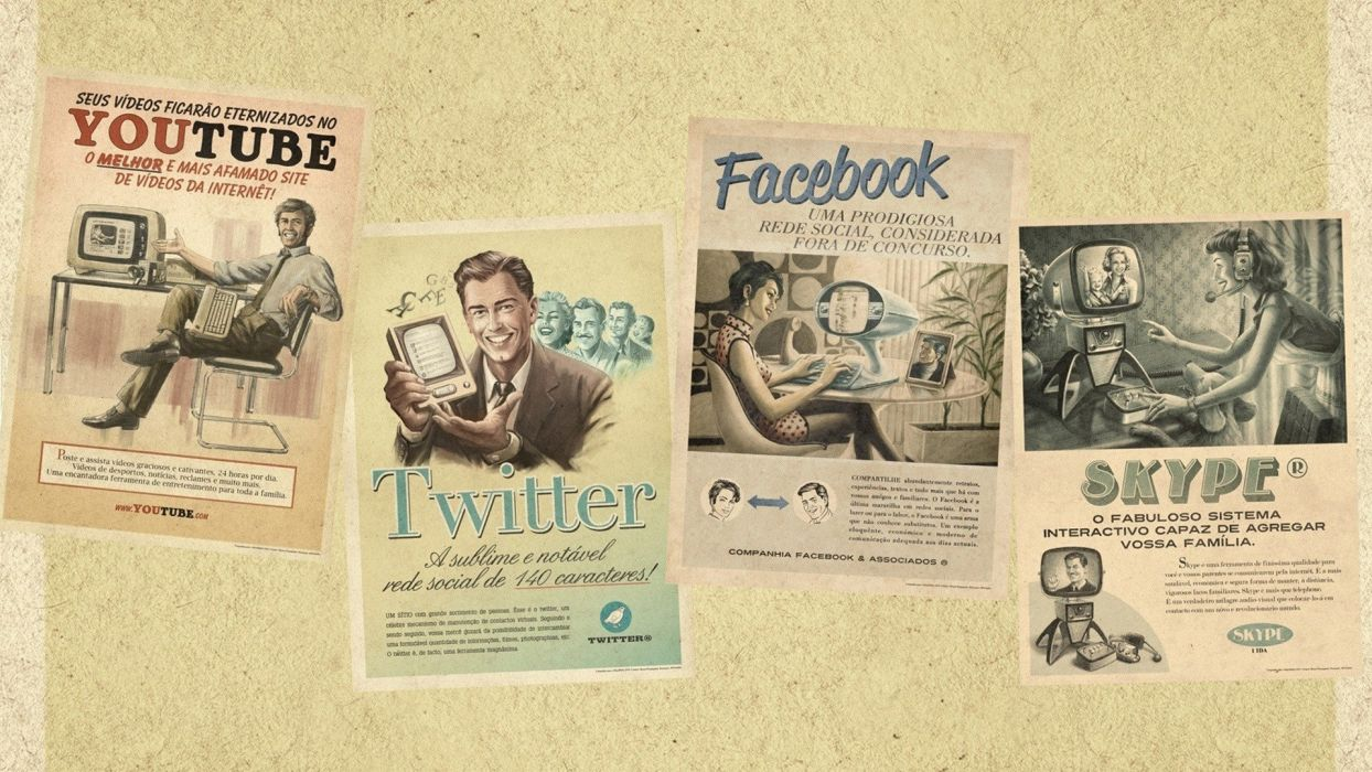 computers Facebook vintage retro technology YouTube Twitter advertisement website Portuguese skype old fashion wallpaper