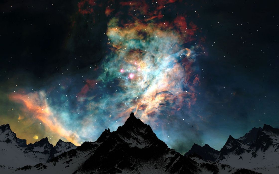 mountains clouds nature snow outer space night stars colors wallpaper
