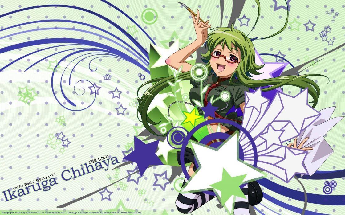 stars glasses long hair ikaruga green hair blush Asu no Yoichi open mouth meganekko striped legwear wallpaper