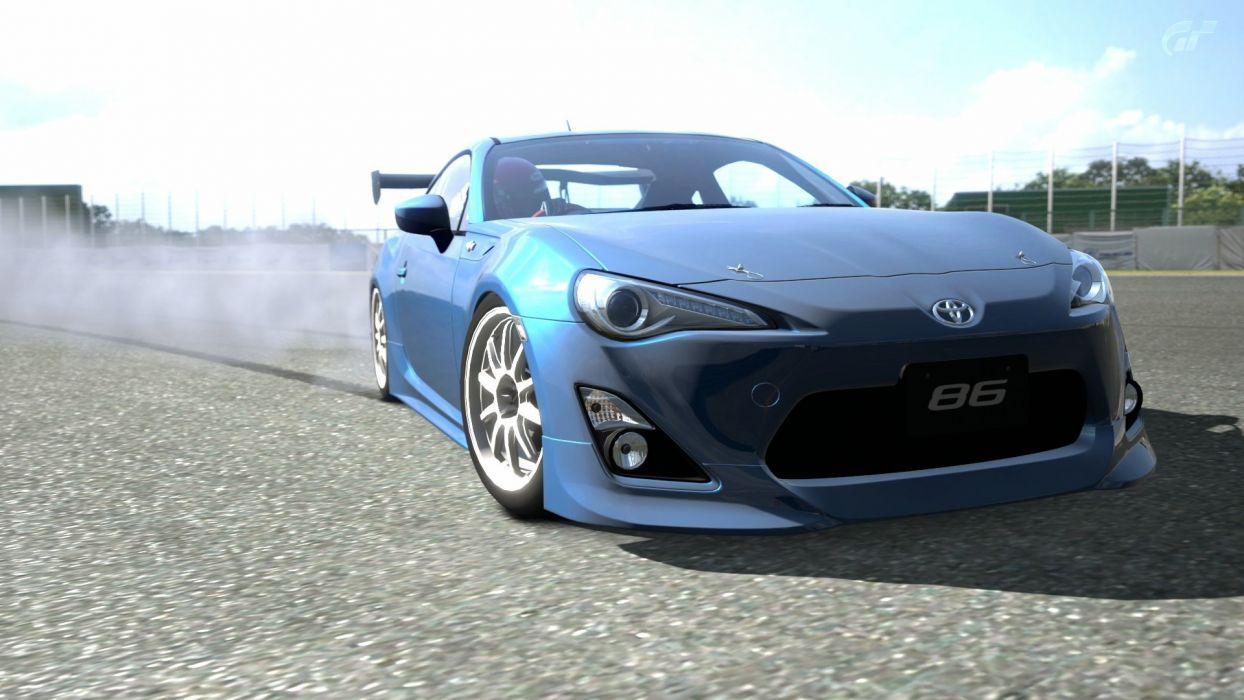 blue cars Toyota drifting cars circuits vehicles tuning Gran Turismo 5 drifting Playstation 3 Toyota FT-86 blue cars GT5 wallpaper