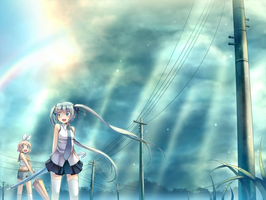 light Vocaloid Hatsune Miku Kagamine Rin thigh highs twintails skyscapes anime girls wallpaper