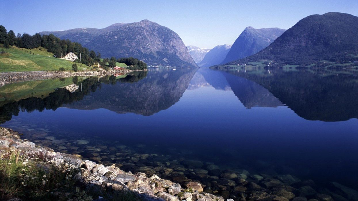 landscapes nature fjord wallpaper