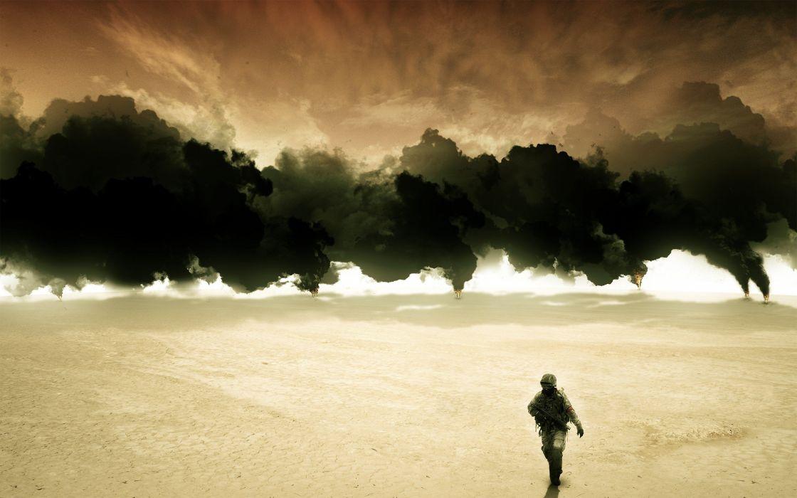 soldiers deserts smoke men Iraq wallpaper