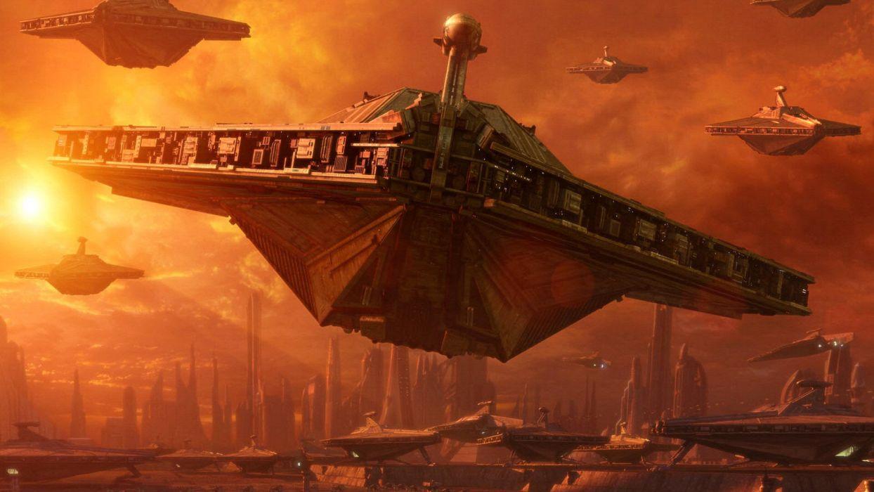 STAR WARS ATTACK CLONES sci-fi action futuristic movie film spaceship wallpaper